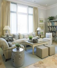 Beige / Off-White / Cream and Pale Blue Living ROom