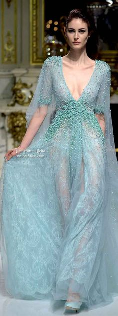 Charlotte Licha Spring 2014 Couture | low V neck | aqua | blue | sheer | flowy dress with embroidery