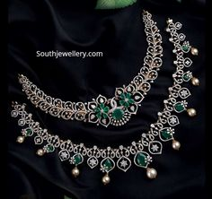 Simple diamond emerald necklace designs Indian Jewellery Design, Indian Jewelry, Jewellery Designs, Emerald Necklace, Necklace Set, Diamond Design, Necklace Designs, Diamond Jewellery, Colour Stone