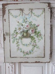 Romantic Cottage, Shabby Chic Cottage, Shabby Vintage, Vintage Style, Shabby Chic Painting, Rose Cottage, White Cottage, Rose Art, Tole Painting