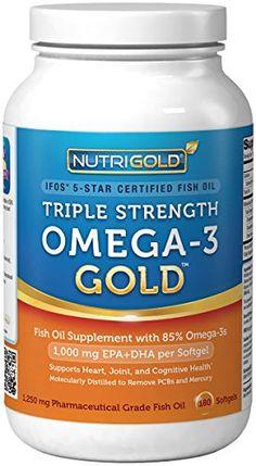 Nutrigold Triple Strength Omega-3 Gold (1,060 mg Omega-3s per softgel), 1250 mg, 180 softgels - http://healthawarenessreview.com/health-personal-care/nutrigold-triple-strength-omega3-gold-1060-mg-omega3s-per-softgel-1250-mg-180-softgels-com/