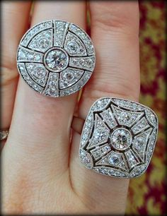 Two Art Deco-style diamond cocktail rings by ZIVA Jewels.