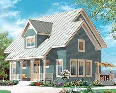 Country Cottage with Cathedral Ceiling landhaus Plan Country Cottage with Cathedral Ceiling Cottage House Plans, Small House Plans, Cottage Homes, House Floor Plans, Plan Chalet, Drummond House Plans, Country Style House Plans, English House, Traditional House