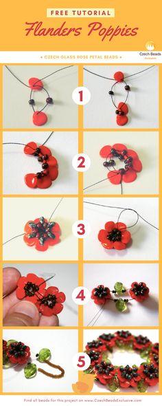 Free Tutorial - Czech Glass Rose Petal Beads - FLANDERS Poppies