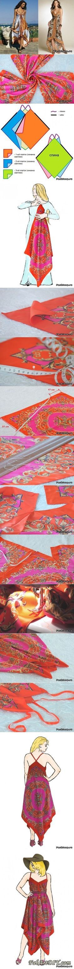 Scarf dress tutorials- Christina this is for you Dress Tutorials, Sewing Tutorials, Sewing Hacks, Sewing Crafts, Sewing Projects, Diy Clothing, Sewing Clothes, Clothing Patterns, Sewing Patterns