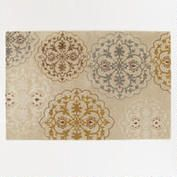 6'x9' Gold and Grey Tufted Medallion Rug