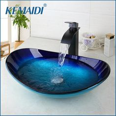 Material: Glass Basin Shape: Round Faucet Mount: Single Hole Capacity: Type: Countertop Sinks Processing: Hand Painted Bathroom Accessory: Drainer Model Number: Colour: Oil Rubbed Bronze Faucet Meterial: Brass Function: Bathroom basin S Bathroom Sink Bowls, Glass Bathroom, Bathroom Faucets, Small Bathroom, Bathroom Caulk, Granite Bathroom, Modern Bathroom Sink, Bowl Sink, Bathroom Cabinets