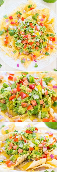 Loaded Guacamole Nachos - Fresh, easy homemade guac on top of cheesy chips is totally irresistible! They'll disappear fast from your #CincoDeMayo party!