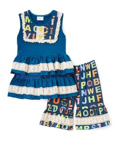 This Cobalt Lace Alphabet Ruffle Tunic & Capri Pants - Infant, Toddler & Girls by Ruffles by Tutu AND Lulu is perfect! #zulilyfinds