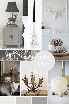 The French Bedroom Company Blog - Real Antler Chandeliers, Unique Lighting for your home. Tips and tricks for hanging our antler chandeliers in your home. From hunting lodge chic, modern scandi interior or ski chalet design, our stag antler lights are perfect. Grey walls, collage, moodboard of grey and winter must-haves to go with our deer antler chandeliers in fallow and red. Sheepskin stool and stag head
