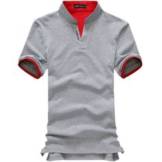 Men fashion boutique cotton leisure stand collar long sleeve Polo shirts Male pure color v-neck Polo Shirt
