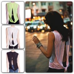 Back slit twisted detail sleeve less basic top @ shoppiin.com