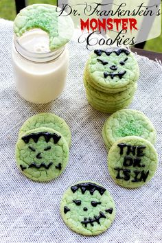Dr. Frankenstein's Monster Cookies {Chewy Sugar Cookies} recipe from http://ThisSillyGirlsLife.com #HalloweenTreats #Chewy #SugarCookies #Frankenstein