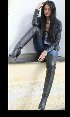 """Beautiful, sexy brunette in and """"Brunette in leather jacket jeans and black thigh boots Thigh High Boots, High Heel Boots"""" Stiletto Boots, High Heel Boots, Heeled Boots, High Heels, Shoes Heels, Pumps, Outfit Botas Negras, Chica Gato Neko Anime, Black Thigh Boots"""