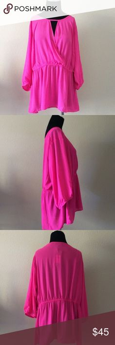 Pink City Chic Cross Over Top Size 16/18. Very well made. Peplum hem, cross over front. Super cute! Goes great with leggings! City Chic Tops Blouses