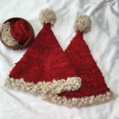 Knit or crochet a darn good Santa hat this holiday! Use recycled silk yarn to make a hat that is gentle on your hair and smooth to the touch. Crochet Santa Hat, Knit Or Crochet, Crochet Hats, Crochet Lovey, Christmas Crochet Patterns, Holiday Crochet, Christmas Knitting, Double Pointed Knitting Needles, Crochet Abbreviations