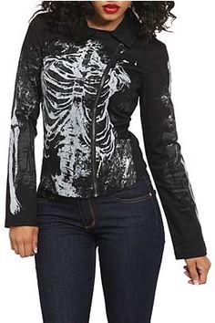 There's not a design flaw anywhere on this Lip Service skeleton moto jacket. Everything from the print to the cut is perfection. | Hot Topic for 59.50 (Reg.) |