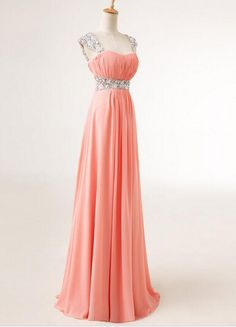 Cap Sleeve Sweetheart Sequins Chiffon Prom Dresses 2015, Formal Gown, Evening Dresses, Party Dresses, Prom Dresses 2015