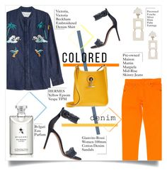 """""""Spring Trend: Colored Denim"""" by sofirose ❤ liked on Polyvore featuring Victoria, Victoria Beckham, Gianvito Rossi, Maison Margiela, Hermès, Bulgari, denim, jeans, coloredjeans and springtrend"""