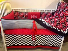 Utes University of Utah Baby bedding crib set REd by abusymother