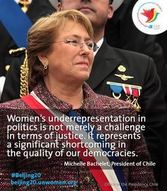 """Chilean President and first UN Women Executive Director Michelle Bachelet on challenges in achieving gender equality: """"There are many inequities and inequalities that we must conquer in political, economic and social realms. We still see serious inequalities in the area of women's participation in decision-making."""" Read her Op-Ed for the #Beijing20 campaign: http://owl.li/yzgr1"""