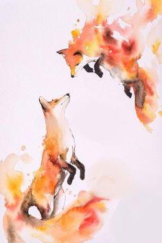 Image of Hot Love by Luqman Reza Mulyono (Jongkie) - foxes watercolor, fox art Animal Paintings, Animal Drawings, Cool Drawings, Animal Illustrations, Fuchs Illustration, Fuchs Tattoo, Fox Art, Painting & Drawing, Watercolor Drawing