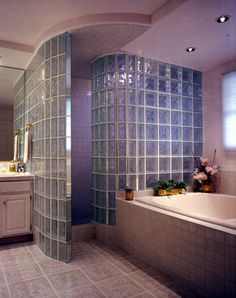 Walk-in, door-less radius Glass Block Shower Wall built with Pittsburgh Corning…