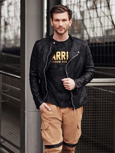 Outfit No. 402 - Leather Jacket, Printed Long Sleeve Top, Cargo Trousers