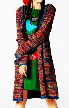 Maxi Open Knit Sweater Dress - Multi-colored Knit Sweater Dress Hood