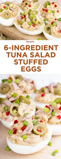 6-Ingredient Tuna Salad Stuffed Eggs - you\'ve never had tuna salad like this before! #skinnyms