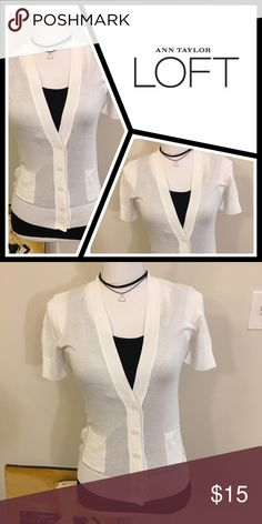 • LOFT white button up cardigan New with tags, 100% prima cotton - fits TTS, super comfortable! LOFT Sweaters