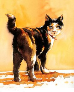 """Watercolor calico cat. Support """"Southern California Cat Adoption Tails"""" www.catadoptiontails.com"""