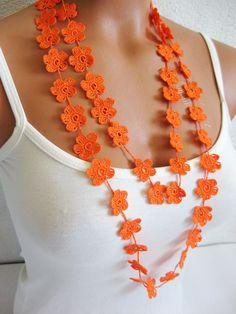 Love Crochet, Hand Crochet, Crochet Flowers, Crochet Lace, Crochet Stitches, Lace Necklace, Lace Jewelry, Orange Necklace, Crochet Necklace Pattern
