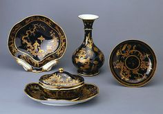 Sevres:Items from a chinoiserie service  Round compotier. 1790  Plate. 1790  Sugar-bowl with a lid. 1790  Compotier in the form of a seashell. 1791