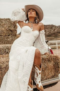 24 Cowgirl Boots Wedding Ideas For Country Celebration ❤ cowgirl boots wedding ideas boho with puff sleeves lace ruedeseine #weddingforward #wedding #bride #weddingoutfit #bridaloutfit #weddinggown