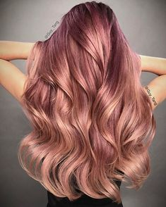 New Hair Ideas Blonde Highlights Balayage Guy Tang Ideas Rose Gold Blonde, Rose Gold Hair, Pink Hair, Purple Rose, Blonde Hair, Dark Blonde, Dark Red, Red Black, Pink Blue