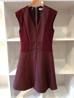 Wine colored flare dress by Rebecca Taylor