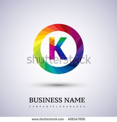 K letter colorful logo in the circle. letter K icon design with polygonal style. Vector design template elements for your application or company logo identity. - stock vector
