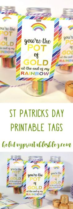 "The Ultimate Pinterest Party, Week 135 Free ""you're the pot of gold at the end of my rainbow"" printable saint patrick's day printable tags! Fill with rainbow candy and gold-wrapped chocolate for a fun saint patrick's day gift of favor idea!"