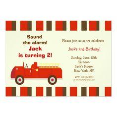 Trucks Birthday Party Invitations Vintage Fire Truck Birthday Party Invitations