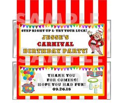 CIRCUS CARNIVAL BIRTHDAY PARTY candy bar wrappers favor FREE FOILS Personalized #BirthdayChild #partyfavors