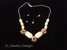 Copper Pearl Beaded Bead Necklace and Earring Set by KL Jewelry Design $25.00