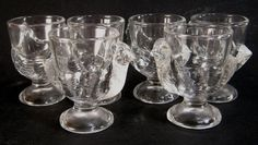 Vintage Clear Glass Chicken Hen Egg Cups Arc France