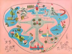 Vintage Disneyland map- ahhhh home sweet home. Will I ever be as content in massive WDW? Retro Disney, Old Disney, Disney Love, Punk Disney, Disney Parks, Disney Pixar, Disney Rides, Disney Cruise, Disney Characters
