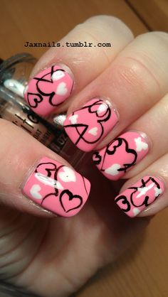 Amazing Pink Nail Art Designs For Valentine's Day For 2018 - fashonails Nail Art Saint-valentin, Heart Nail Art, Pink Nail Art, Heart Nails, Pink Nails, Nail Nail, Love Nails, Pretty Nails, My Nails