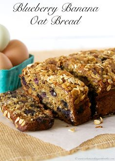 Blueberry Banana Oat Bread - no oil added! Delicious Whats Cooking With Ruthie #recipes #bread #healthy