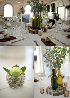 Looking for a cool nature-inspired centerpiece idea?  Check out this couple's wine bottle centerpiece with aspen leaves!  The smaller centerpiece on the bottom left utilizes our vases and pebbles which are included in your venue fees!  Tapestry House Wedding and Event Center in Laporte, CO.