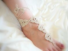 crochet wedding Barefoot Sandals, flower chain, Nude shoes, Foot jewelry, bridal, LaceSexy, Yoga, Anklet, beach 5pair