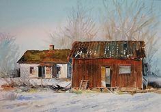 Lena Nilebäck på Konstkvarteret Watercolor Barns, First Art, Gouache, Lovers Art, Watercolors, Landscapes, Arts And Crafts, Farmhouse, Illustrations