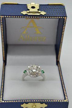 Circle Halo Diamond Bridal Set Ring & Band 14k White Gold 0.60ct - Allurez.com
